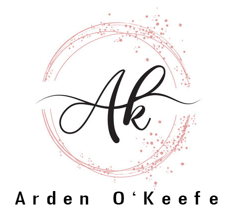 Handwritten AK a k letters logo with dust pink sparkling circles